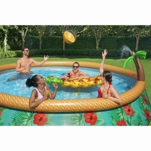 Bestway 57415E 15Ft x 33In Fast Set Paradise Palms Inflatable Swimming Pool Set Perspective: left