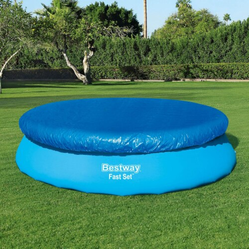 Bestway Flowclear Fast Set 12 Foot Round PVC Pool Debris Cover with Ropes, Blue Perspective: left