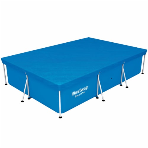 Bestway 58106 Flowclear Pro Rectangular Above Ground Swimming Pool Cover, Blue Perspective: left