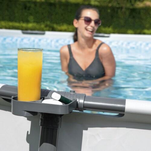 Bestway 58641E Steel Pro MAX FrameLink System Drink Cup Holder, Gray (4 Pack) Perspective: left