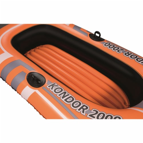 Bestway Kondor 2000 Inflatable Raft Boat Set with Oars and Pump Perspective: left