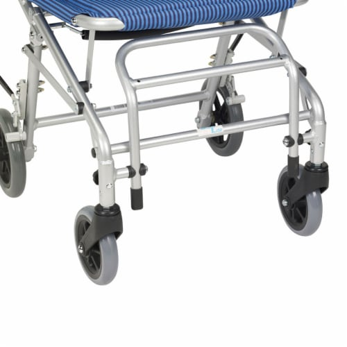 Drive Medical SL18 Super Light Foldable Wheeled Transport Chair with Carry Bag Perspective: left