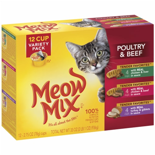 Meow Mix Tender Favorites Poultry & Beef Wet Cat Food Variety Pack 12 Count Perspective: left