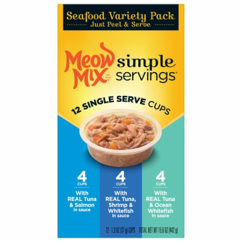 Meow Mix Simple Servings Seafood Wet Cat Food Variety Pack Perspective: left