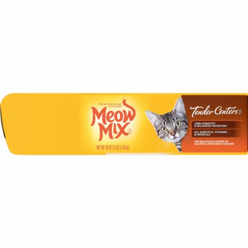 Meow Mix Tender Centers Salmon and Chicken Dry Cat Food Perspective: left