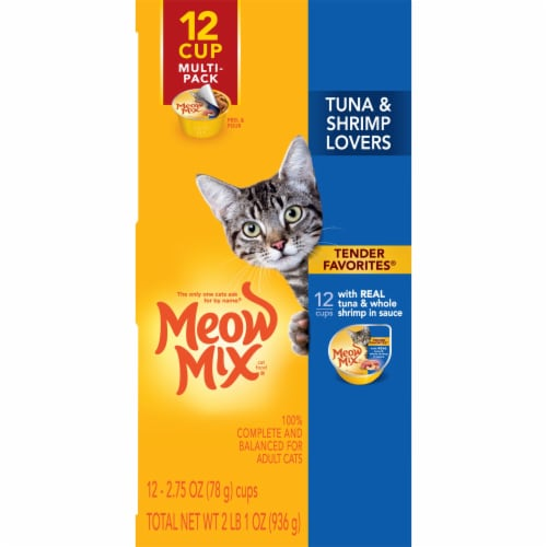 Meow Mix Tender Favorites Tuna & Whole Shrimp Wet Cat Food Variety Pack 12 Count Perspective: left