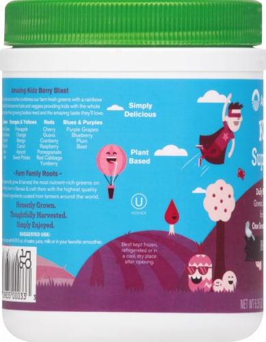 Amazing Grass Kidz SuperFood Wild Berry Drink Powder Perspective: left