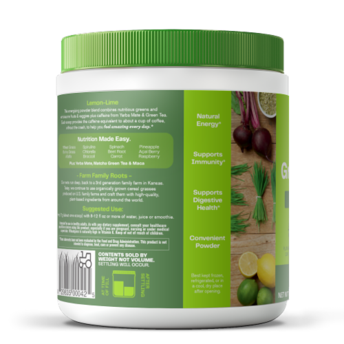Amazing Grass Green Superfood Lemon-Lime Energy Powder Supplement Perspective: left