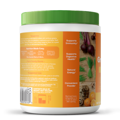 Amazing Grass Tangerine Green Superfood Immunity Dietary Supplement Perspective: left