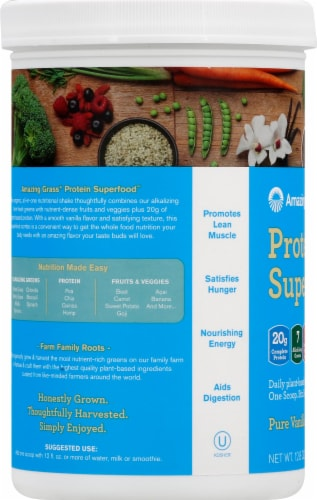 Amazing Grass Protein Supperfood Pure Vanilla Nutrition Shake Powder Perspective: left