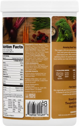 Amazing Grass Protein Superfood Chocolate Peanut Butter Nutrition Shake Powder Perspective: left