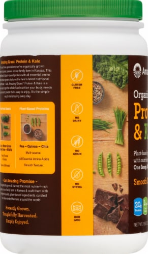 Amazing Grass Organic Smooth Chocolate Protein & Kale Powder Perspective: left