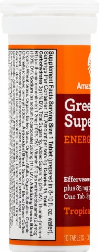 Amazing Grass Green Superfood Energy Tropical Effervescent Greens Tablets Perspective: left