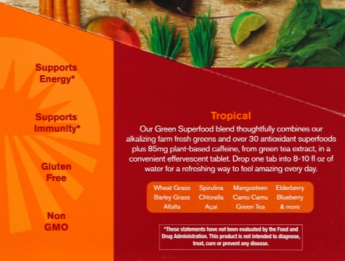Amazing Grass Green Superfood Energy Tropical Effervescent Greens Perspective: left