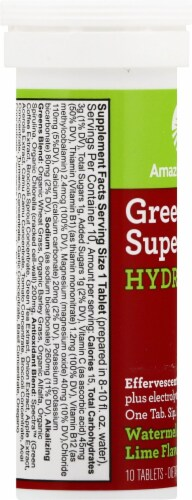 Amazing Grass Green Superfood Hydrate Watermelon Lime Effervescent Greens Tablets Perspective: left