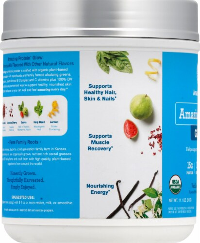 Amazing Grass Amazing Protein Glow Vanilla Honeysuckle Whole Food Dietary Supplement Powder Perspective: left