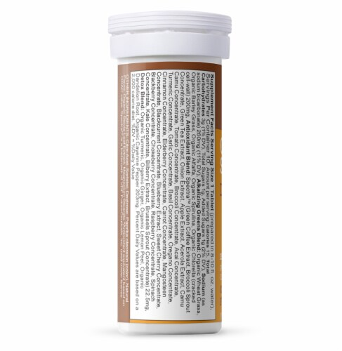 Amazing Grass Green Superfood Orange Turmeric Detox Tablets 10 Count Perspective: left
