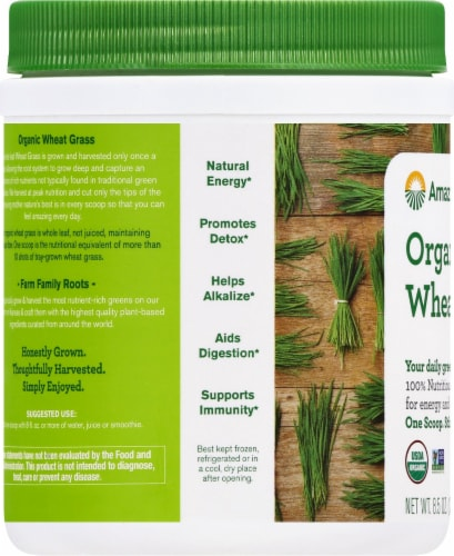 Amazing Grass Organic Wheat Grass Whole Food Dietary Supplement Powder Perspective: left