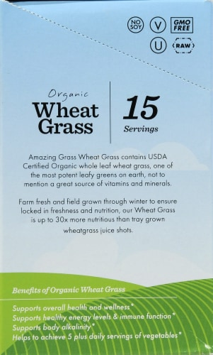 Amazing Grass Organic Wheat Grass Whole Food Drink Powder Perspective: left