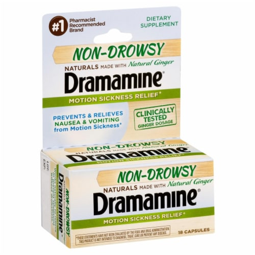 Dramamine Non-Drowsy Natural Ginger Motion Sickness Relief Capsules Perspective: left