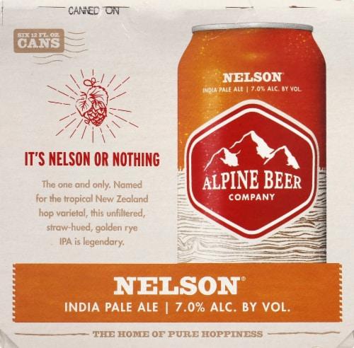 Alpine Beer Company Nelson IPA Beer Perspective: left
