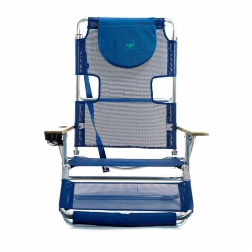 Ostrich 3 N 1 Lightweight Aluminum Frame 5 Position Reclining Beach Chair, Blue Perspective: left