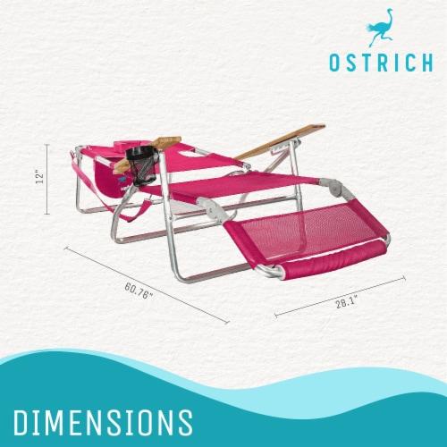 Ostrich 3 N 1 Lightweight Aluminum Frame 5 Position Reclining Beach Chair, Pink Perspective: left