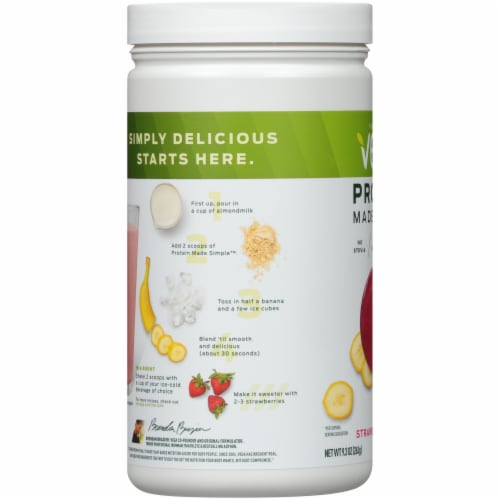 Vega Protein Made Simple Strawberry Banana Drink Mix Perspective: left