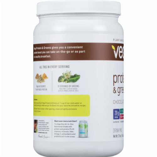 Vega Protein & Greens Plant-Based Chocolate Flavored Drink Mix Powder Perspective: left