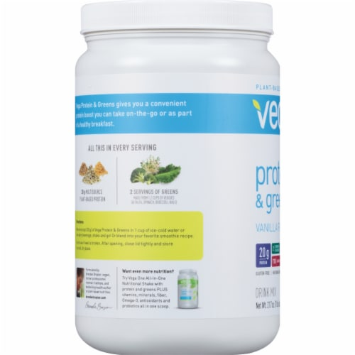 Vega Protein & Greens Plant-Based Vanilla Flavored Drink Mix Powder Perspective: left