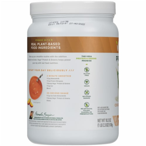 Vega Protein & Greens Plant-Based Coconut Almond Flavored Drink Mix Powder Perspective: left