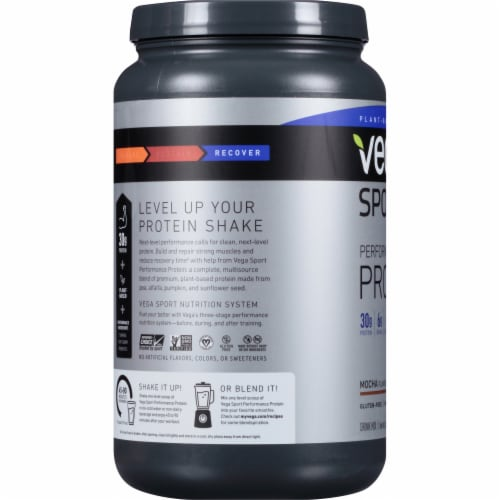 Vega Sport Plant-Based Performance Protein Mocha Drink Mix Powder Perspective: left