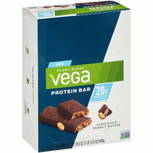 Vega Chocolate Peanut Butter Protein Bars 12 Count Perspective: left
