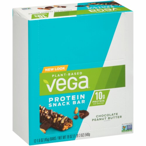 Vega Chocolate Peanut Butter Protein Snack Bars 12 Count Perspective: left