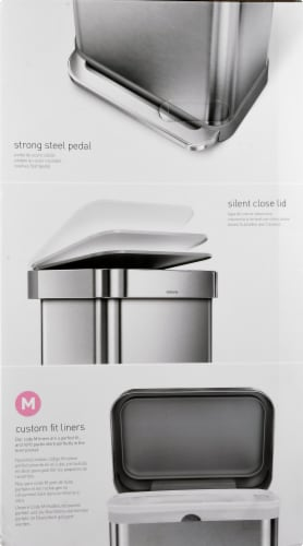 simplehuman Rectangular Step Can with Lid - Stainless Steel Perspective: left