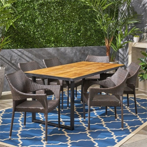 Noble House Welch 7 Piece Outdoor Acacia Wood and Wicker Dining Set in Teak Perspective: left