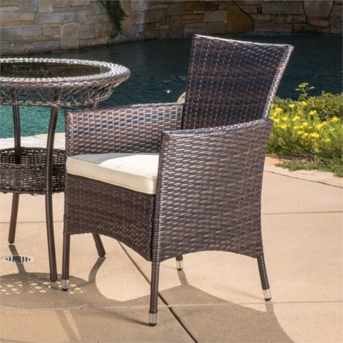Noble House Parker 3 Piece Outdoor Bistro Set in Brown Perspective: left
