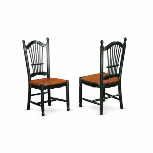 East West Furniture Antique 5-piece Dining Set with Wood Seat in Black/Cherry Perspective: left