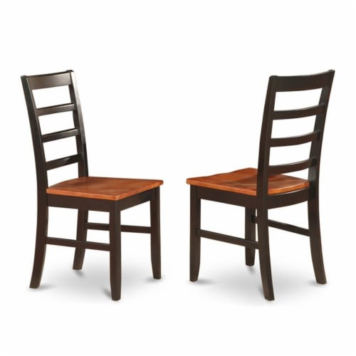East West Furniture Dover 5-piece Wood Kitchen Table Set in Black/Cherry Perspective: left
