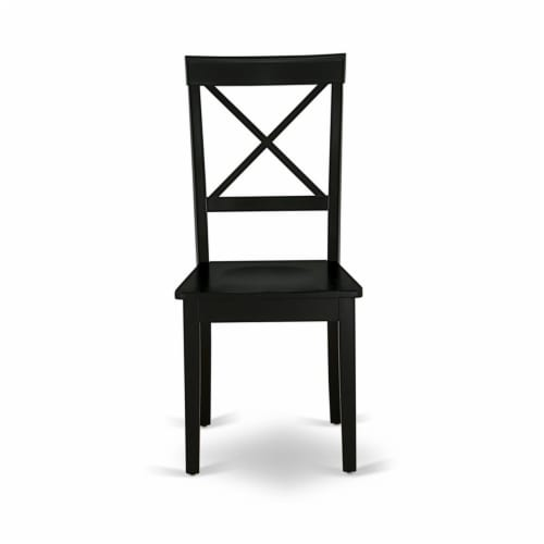 East West Furniture Boston 38  Wood Dining Chairs in Black (Set of 2) Perspective: left
