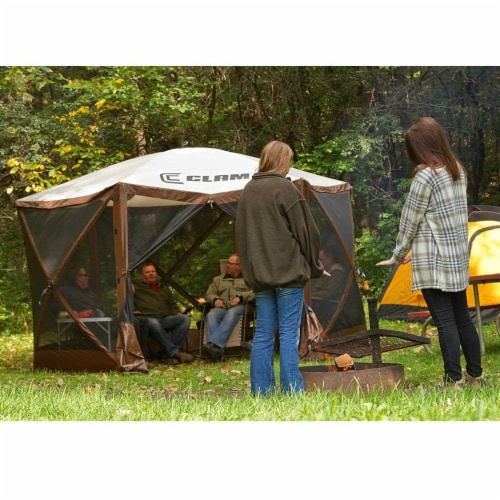Clam Quick Set Escape Portable Camping Outdoor Gazebo Canopy, Brown/Tan (2 Pack) Perspective: left