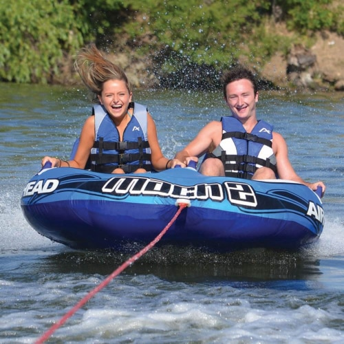 Airhead Mach 2 Inflatable 2 Rider Cockpit Lake Water Towable Tube, Blue (2 Pack) Perspective: left