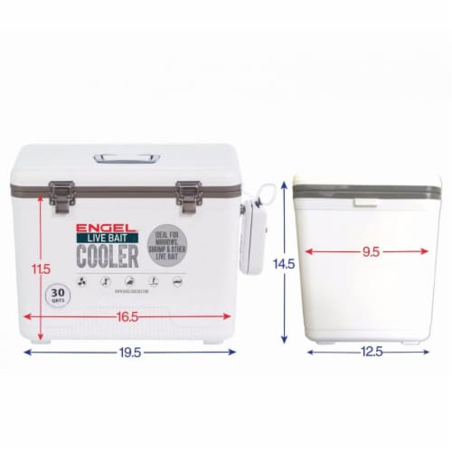 Engel 30 Quart Hard Sided Live Bait Fishing Dry Box Coolers, White (2 Pack) Perspective: left