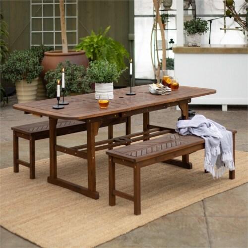 3-Piece Extendable Outdoor Patio Dining Set - Dark Brown Perspective: left