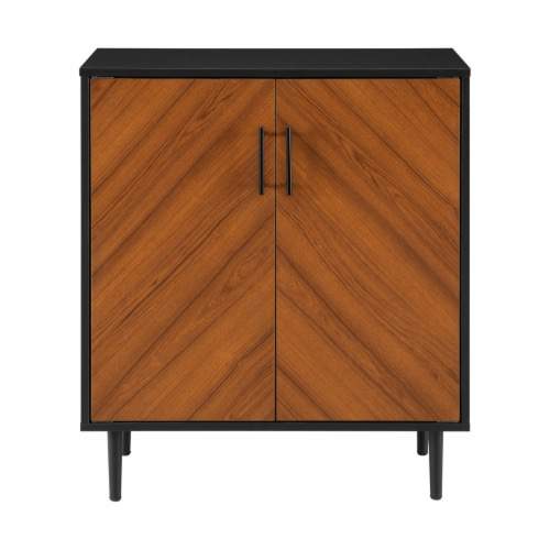 28  Modern Bookmatch Accent Cabinet - Solid Black Perspective: left
