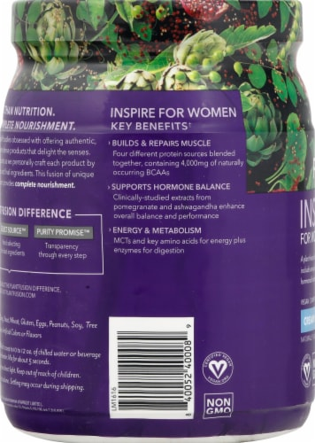 PlantFusion Inspire for Women Vanilla Protein Powder Perspective: left