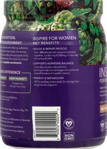 PlantFusion Inspire for Women Chocolate Protein Powder Perspective: left