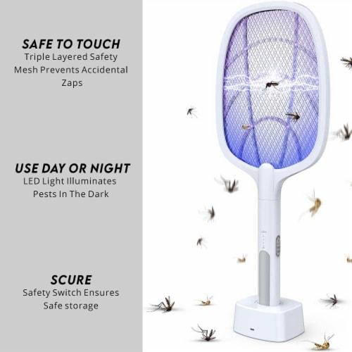 WBM Smart Bug Zapper, Electric Fly Swatter & Lamp, USB Rechargeable, 3-Layer Safety Mesh Perspective: left