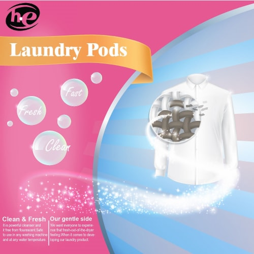 W Home Laundry Pods, Hypoallergenic Natural Stain Remover, Fresh Rose   Pack 3 - 12 Pods Each Perspective: left