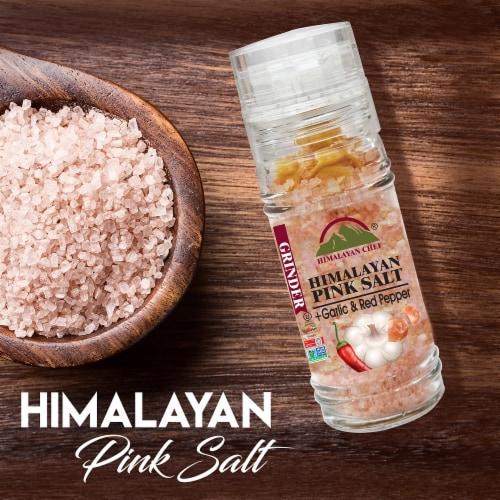 Himalayan Chef Roasted Garlic & Red Crushed Pepper With Pink Salt Grinder | 3.53 Oz – 6 Packs Perspective: left